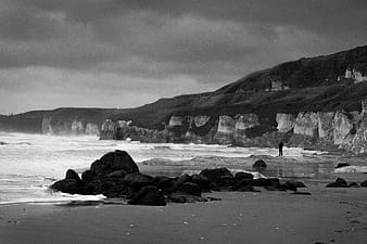 Grayscale photo of sea shore with rocks