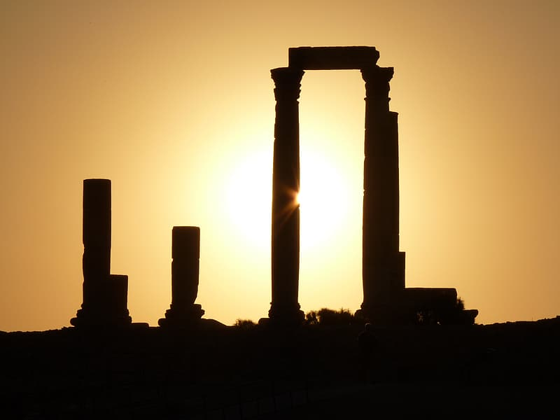 Silhouette of columns during golden hour