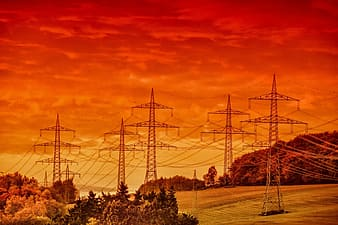 Brown transmission towers