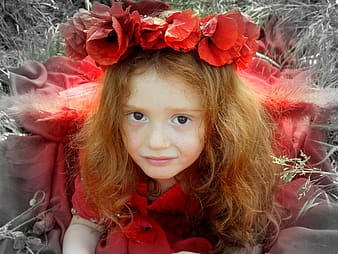 Girl in red dress photo