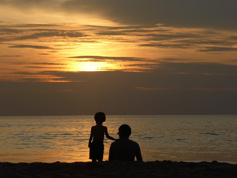 Silhouette of man and boy near seashore during golden hour