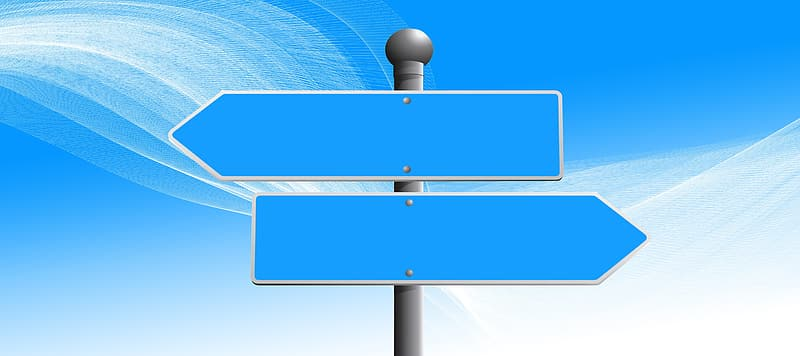 Two blue and gray blank signages