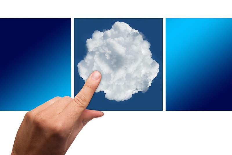 Photo of person touching cloud photo panel
