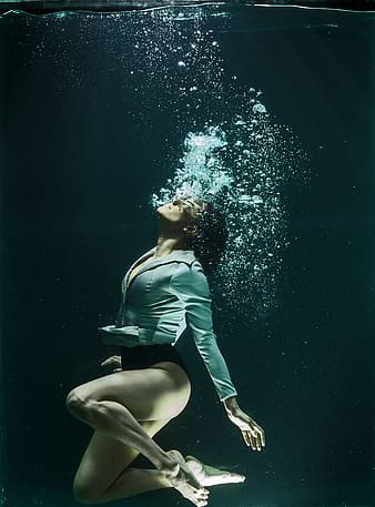 Photography of woman under water
