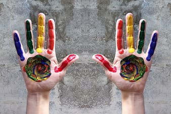 Person with paint on hands