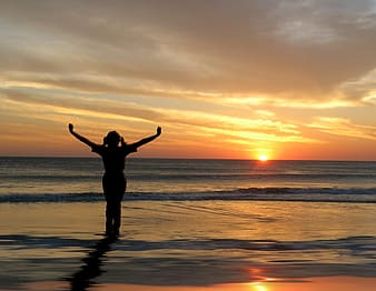 Silhouette photo of a woman spreading her hands near seashore during golden hour