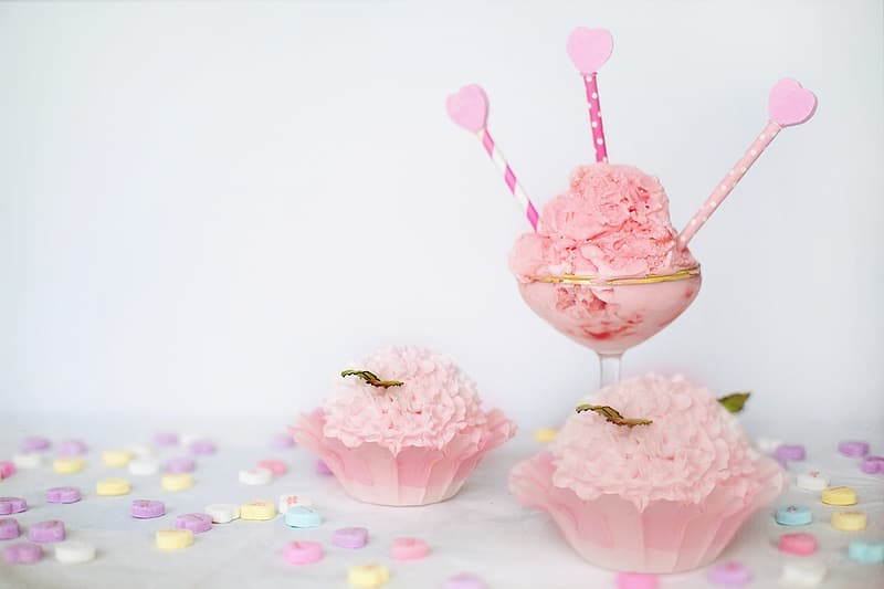 Pink cupcakes and sweets