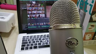 Gray Blue condensing microphone
