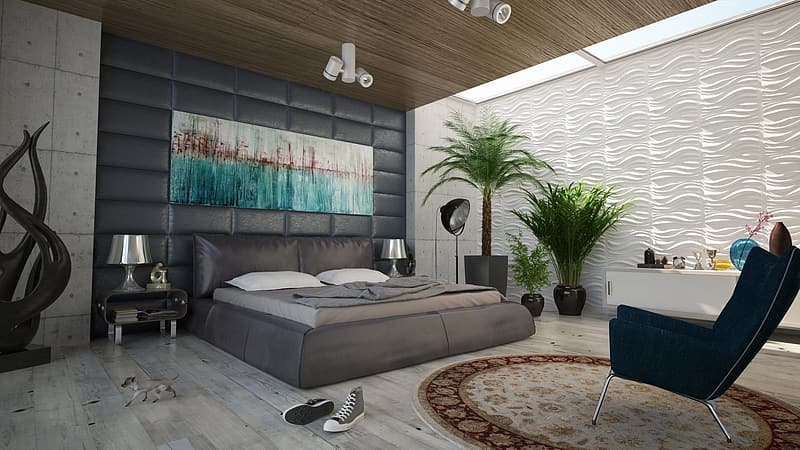 Fully furnished bedroom interior view
