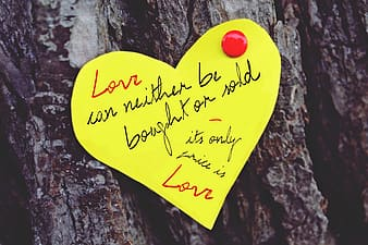 Love can neither be bought or sold heart paper cut