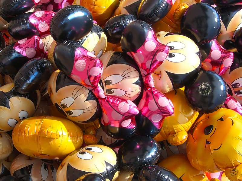 Assorted Minnie Mouse and Winnie the Pooh balloons