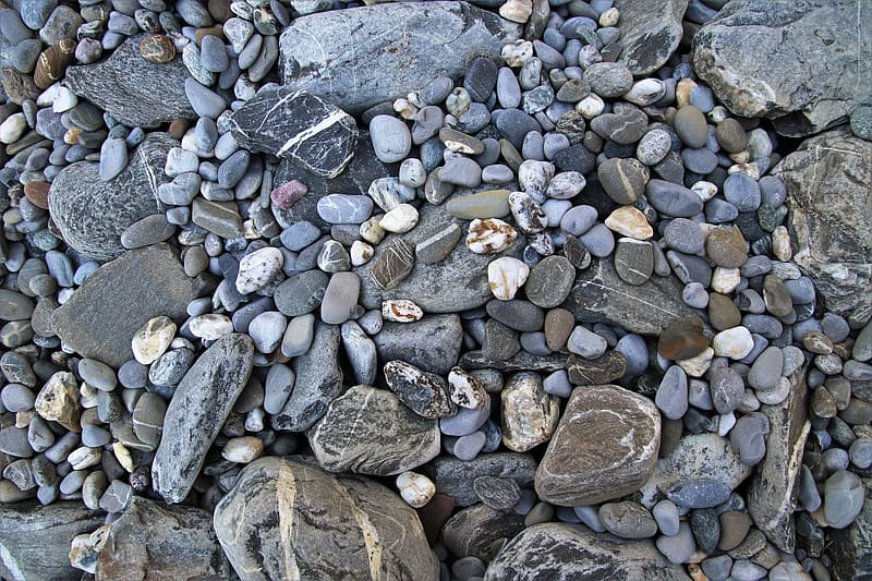 Gray and brown stones on gray and white stones