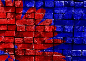 Blue and red concrete wall