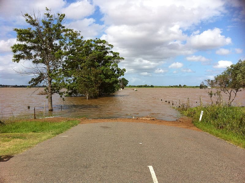 Road covered with flood