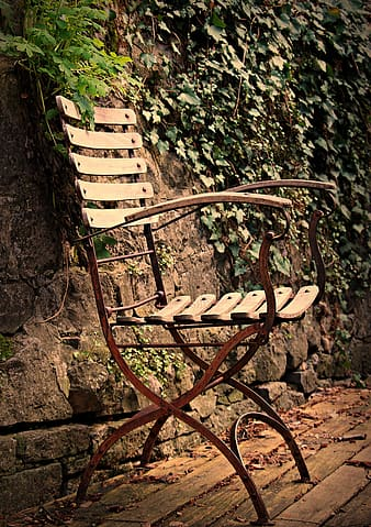 Brown wooden chair beside green plant