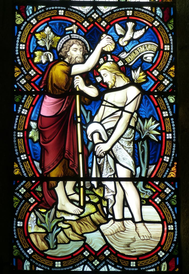 Stained glass of John Baptist Jesus Christ