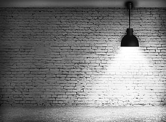 Pendant lamp in front of brick wall in grayscale photography
