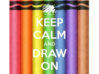 Crayons illustration with keep calm text overlay