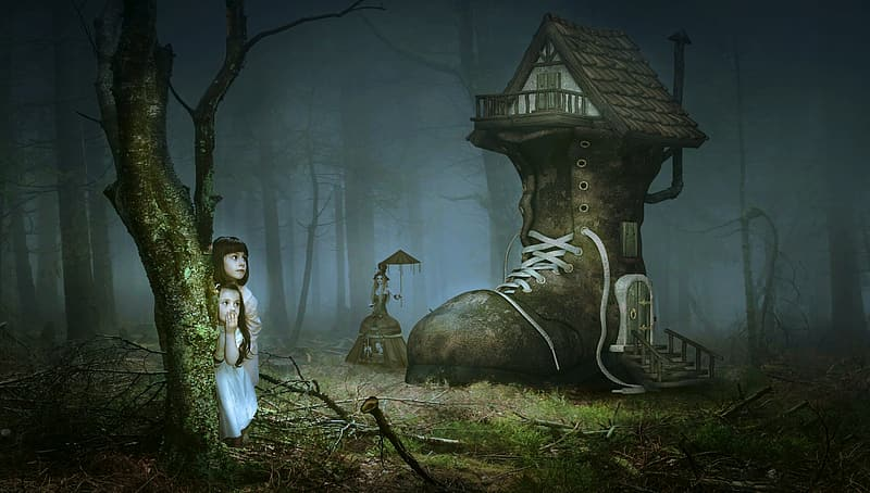 Two girls near the boot house in the forest wallpaper