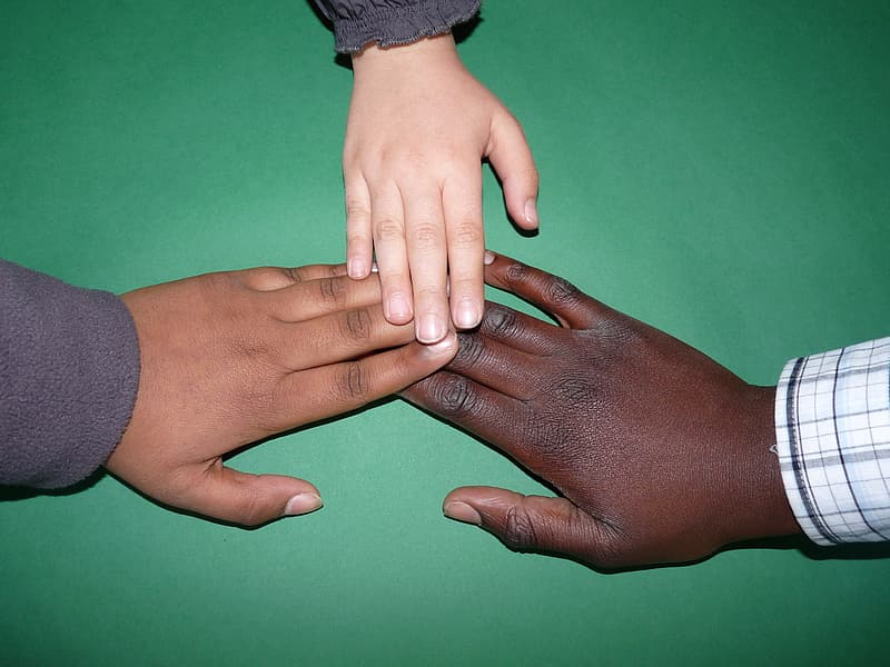 Three person hands