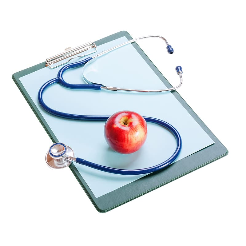 Red apple fruit on blue tray