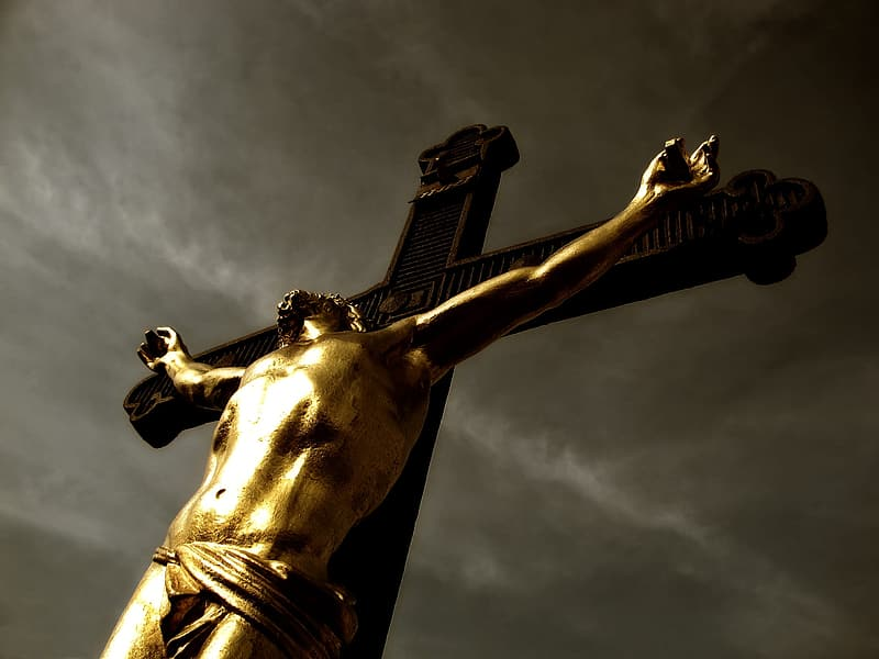 Low angle photography of Jesus on the cross