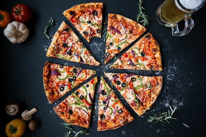Pizza with cheese and green leaves | Pikrepo