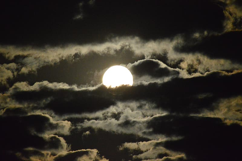 Bright full moon covered with clouds