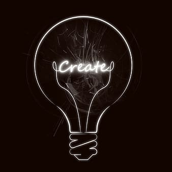 White bulb illustration with create text