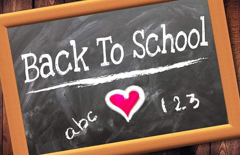 Brown framed back to school-printed chalkboard