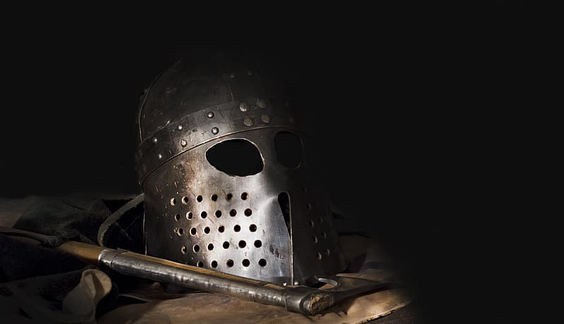 Gray knight helmet with battle axe