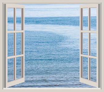 Window view of a body of water