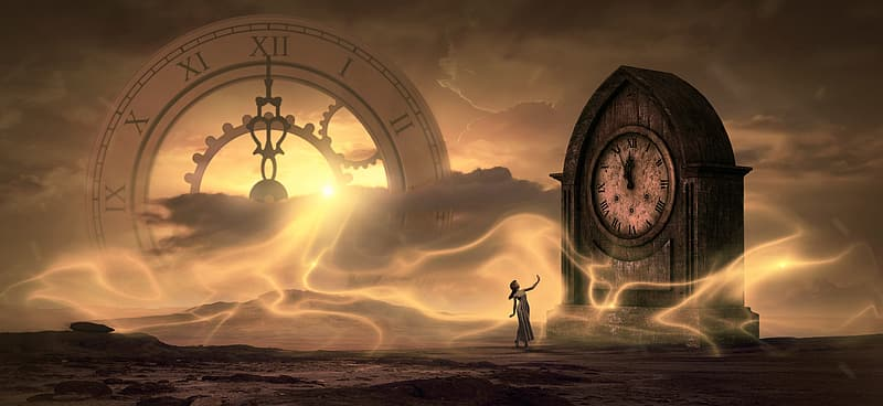 Woman standing in front of clock digital wallpaper
