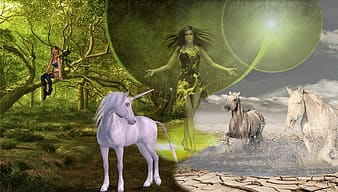 Fairy standing between unicorn and two running horses digital wallpaper