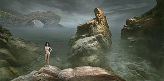 Woman on rock formation game application