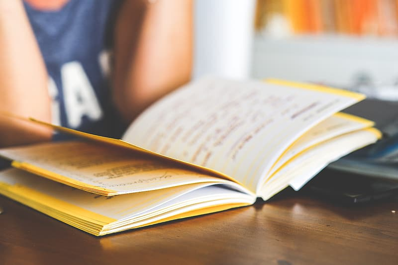 Person in front of yellow book