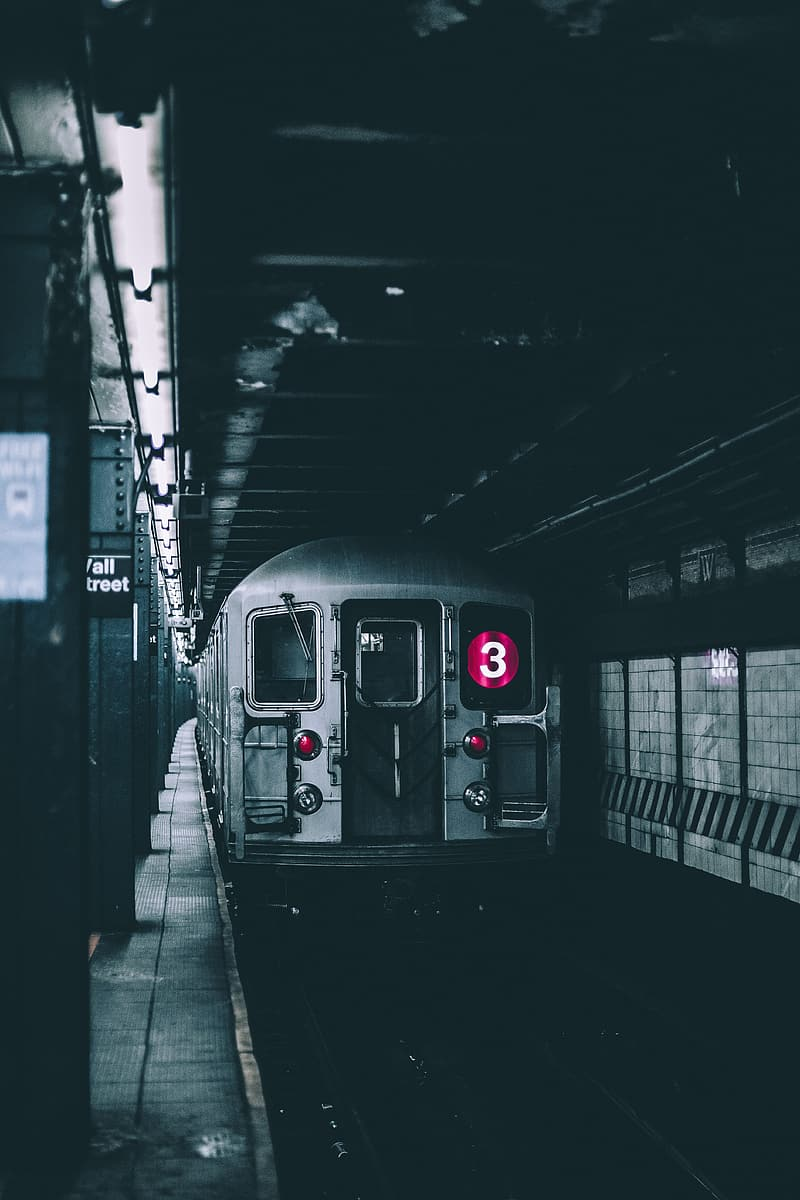 Gray train on subway