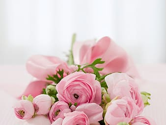 Pink peonies bouquet closeup photo