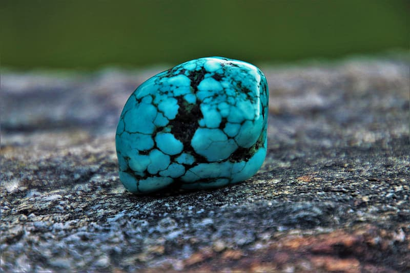 Teal and black stone