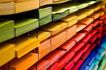 Assorted-color of printing papers inside rack