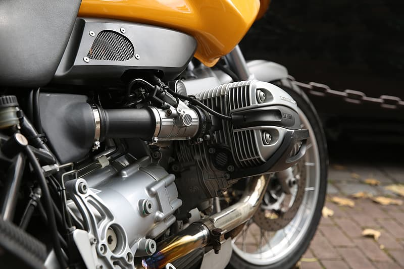 Grey and black motorcycle engine
