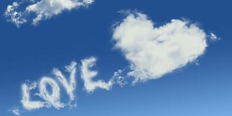 Love text heart clouds