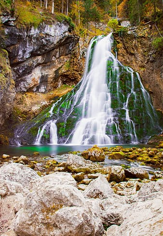 Timelapse photography of waterfall