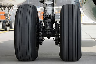 Airplane tires outdoors