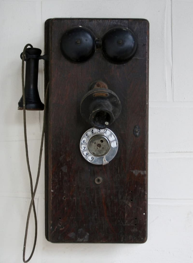 Crank telephone on wall