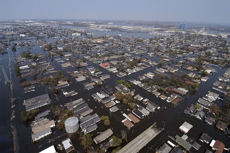 Aerial photography of flooded houses