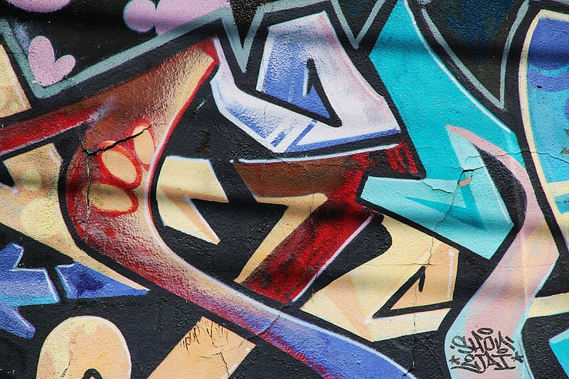 Red blue and white graffiti