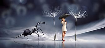 Woman holding umbrella near spider and dandelion wallpaper