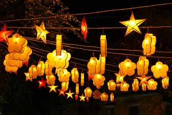 Photo of hanging star and clouds lanterns