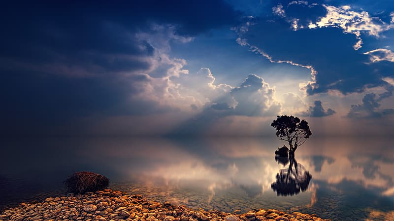 Water mirroring the sky